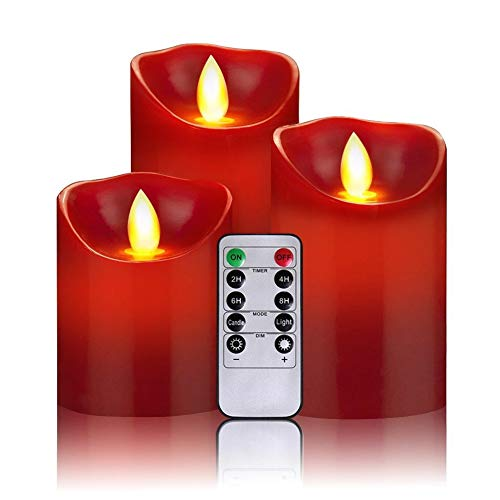 LED-Kerzen,Flammenlose Kerzen 300+ Stunden Dekorations-Kerzen-Säulen im 3er Set 10-Tasten Fernbedienung mit 24 Stunden Timer-Funktion (3 * 1, rot)