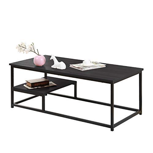 SogesHome Tavolino da Salotto con Ripiano,Tavolo da Soggiorno,per Soggiorno e Camera da Letto Design Moderno,Ottima Capienza,120 x 56 x 43 cm,Nero,SH-DX-M53DBR