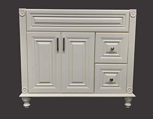 Antique White Solid Wood Single Bathroom Vanity Base Cabinet 36' W x 21' D x 32' H (Right Drawers)