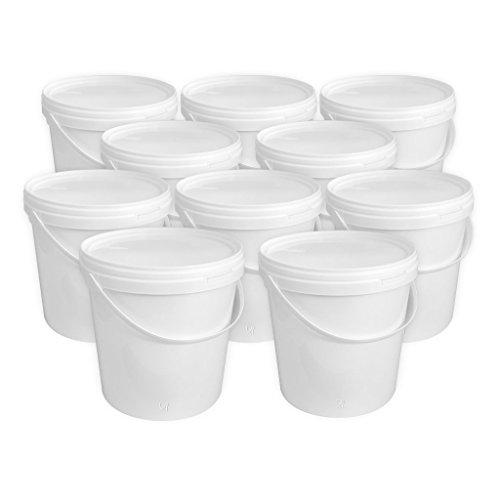 Groku 10 Liter Eimer mit Deckel, weiß, stapelbar, mit Lebensmittelfreigabe (10 Stück)