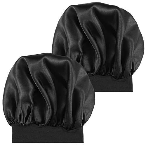 Lurrose 2pcs Sombrero de Gorro de Dormir de satén Banda Ancha Gorra de Noche Suave para Mujeres y Chicas (Negro)