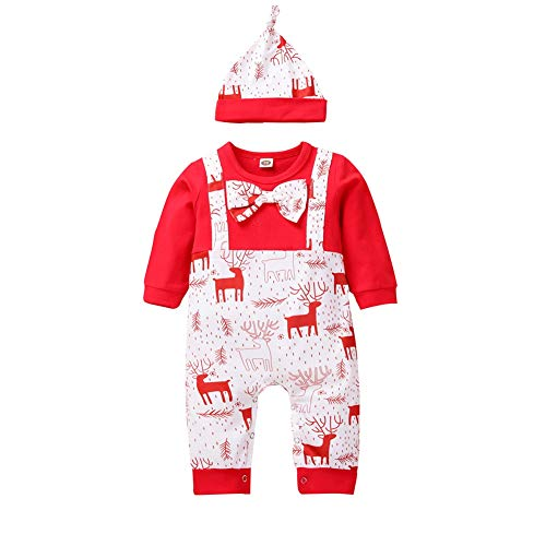Teblacker My First Christmas Outfit Baby Boy Bow Tie Romper Bodysuit Reindeer Pants Hat Clothes Set(90 Red)