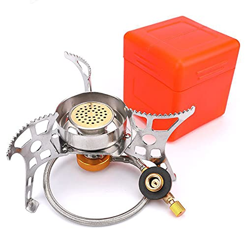 BINBE Portable Camping Stove, Backpacking Camp Stove with 2 Types Propane Butane Adapter Folding Ultralight Windproof for Outdoor Hiking Cooking