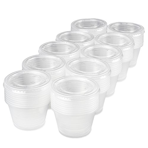 100pack of Disposable Clear Plastic Condiment Storage Cups with Lids  Choose 2 oz or 4 oz  For Restaurant Home Gelatin Shots by Back of House Ltd 4 oz