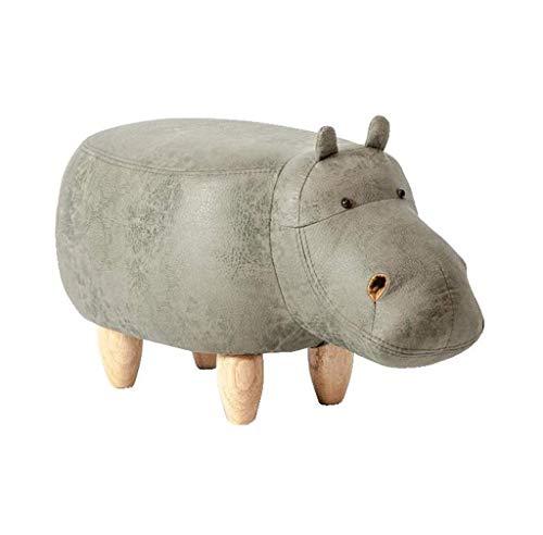 Reposapiés de madera maciza | Taburete de asiento para hipopótamo infantil | Reposapiés otomano tapizado | Taburete cambiador de zapatos