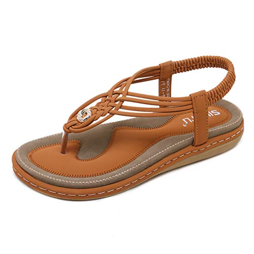MIAOFA Chanclas Planas con Cordones en Forma de T para Mujer Sandalias Tejidas de Metal de Verano Zapatillas Zapatos Bohemios Simples de Moda Zapatos de Vestir de Fiesta al Aire Libre,Marrón,42