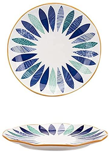 PANGPANGDEDIAN Canasta de Frutas Juego de Placas de Ensalada de cerámica, Placas de Servicio Cena Floral Placas Poco Profundas Conjunto de 2, Aperitivo de Postre Estante (Color : Blue, Size : 8in)