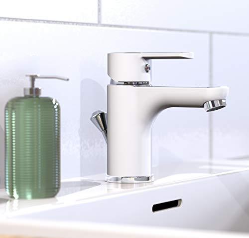 EISL Waschtischarmatur DIZIANI, Wasserhahn Bad in Weiß/Chrom, Einhebelmischer mit Ablaufgarnitur, Mischbatterie Waschbecken mit Qualitätsmischdüse, Badarmatur, NI075DINWCR