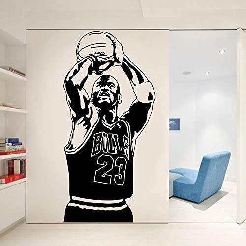 KDSMFA - Adhesivo decorativo para pared, diseño de estrella de baloncesto (vinilo extraíble, 42 x 87 cm)