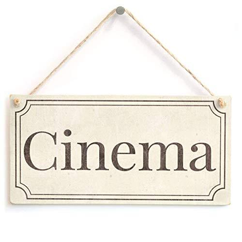 PotteLove Cinema – Placa de Madera Estilo Vintage Hecha a Mano Chic DE 12,7 x 25,4 cm para Puerta de Sala de Cine