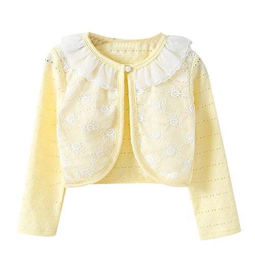 Little Girls Long Sleeve Lace Bolero Jacket Cardigan Flower Shrug Dress Cover Up Yellow 130