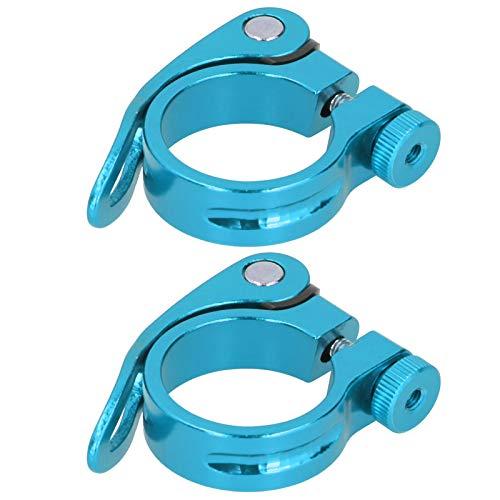 XINMYD Abrazadera de sillín de Bicicleta, 2 Piezas Abrazadera de sillín de Bicicleta Bicicleta de montaña Tubo de Asiento de Carretera Clip de liberación rápida 34,9 mm(Azul)