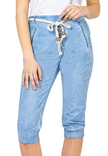Sublevel Damen Baumwoll Capri Stoff-Hose mit Bindegürtel Light-Blue L