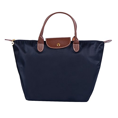 Fletion - Borsa da donna, impermeabile, in nylon, pieghevole, ideale per la spesa o come borsa da viaggio Blu scuro M:44 cm*30 cm*18 cm