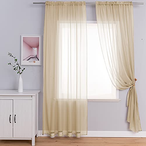2 Panels Beige Sheer Curtains with Tiebacks, Rod Pocket Semi Sheer Privacy Window Treatment Voile Panels Drapes Curtains for Bedroom Living Room Party Backdrop, Wide 52 x Long 84 inch