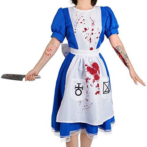 CosInStyle - Disfraz de dama de terror, con delantal sangriento para Halloween, disfraz de Alicia espeluznante