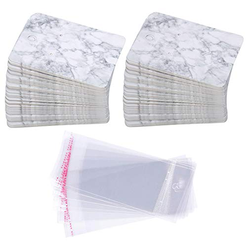 Earring Cards Set, 100 Pcs Paper Earring Display Cards with 100 Pcs Self-Seal Bags, Fashion Colorful Card Holder Organizer Tags DIY Handmade Packing Cards for Earring Stud Necklace (Marbling)