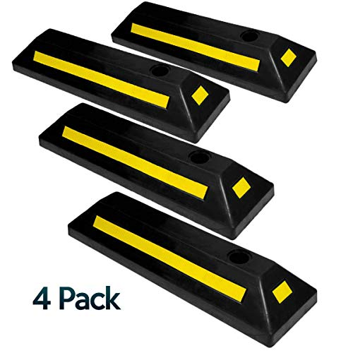 Zone Tech Heavy Duty Vehicle Rubber Parking Guide - 4 Pcs Premium Quality Durable Car, Van, Truck Garage Driveway Floor Wheel Stopper - Professional Grade Parking with Reflective Tape
