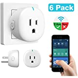 MoKo Wifi Smart Plug, [6 Pack] Mini Wifi Outlet Mini Socket Work with Alexa Echo, Google Home, APP Remote Control Timer Plug, 10A Only Supports 2.4GHz Network No Hub Required, White