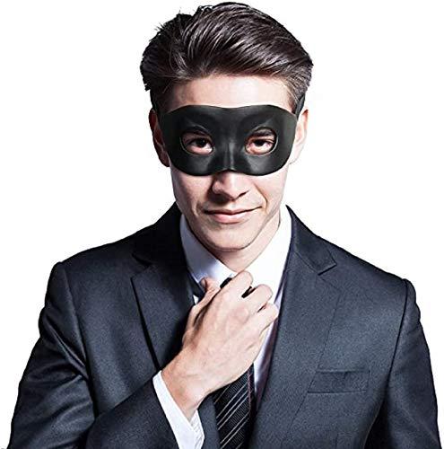 Cusfull Bandit Maske Kunstleder Maskerade Augenmaske für Karneval Fasching Halloween Party Cosplay, schwarz