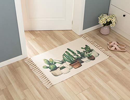Marokkanischer Teppich, Baumwolle, Gobelin, gewebter Teppich mit Quaste, kleiner Teppich für Wohnzimmer, Schlafzimmer, gemütliche Lounge, Bodenmatten für Küche, Bad, Fußmatte, 60 x 90 cm