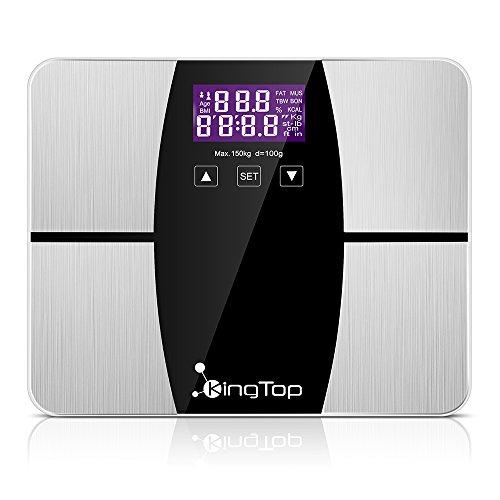 KingTop Digitale Personenwaage Körperfettwaage mit Körperanalyse