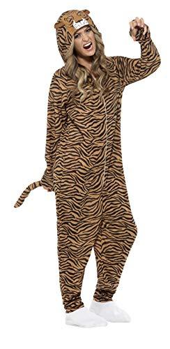Smiffys, Unisex Tiger Kostüm, All-in-One mit Kapuze, Größe: L, 55002