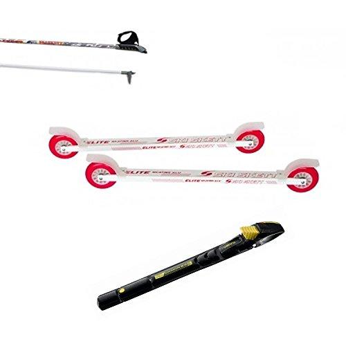Ski Skett Série Ski Roue, Ski Roue Elite Skate ALU PE, Fixations Salomon Profil SK, bâtons pour Ski Roue Long. 165 cm.