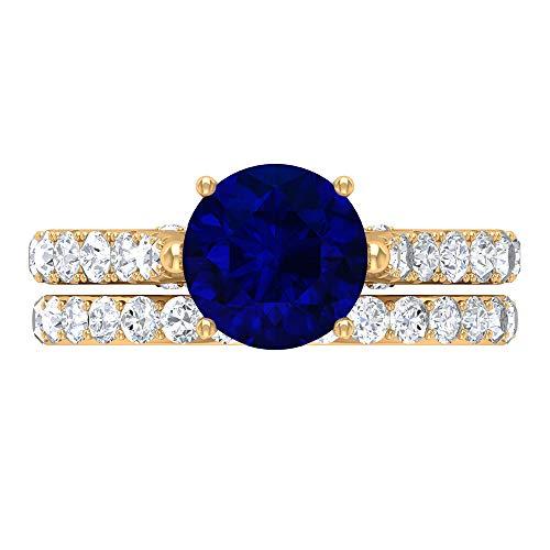 Juego de anillos de solitario para novia, 3,35 quilates redondos, D-VSSI Moissanite 8 mm de zafiro azul creado por laboratorio, anillo cónico con piedras laterales, 14K Oro amarillo, Size:EU 62