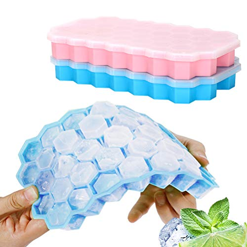 Ice Cube Trays with Lids, 2 Pack Food Grade Silica Gel Flexible 74 Ice Trays with Spill-Resistant Removable Lid,BPA Free Ice Cube Molds for Whiskey Storage,Cocktail,Beverages