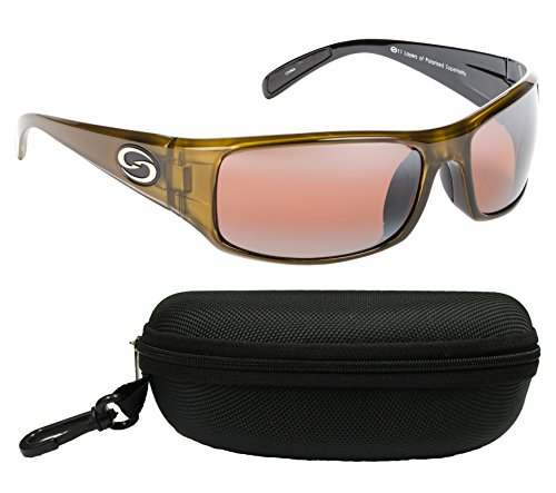 Strike King SG-S1162-CS S11 Optics Polarized SG Okeechobee Bundle, Dark Amber Brown Two Tone Frame with DAB/Amber Lens, with Black Case
