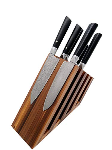 Zayiko exklusiver hochwertiger Design Messerblock Messerbrett Fächer ohne Messer für bis zu 14 Kochmesser unterschiedlicher Größe I Italienisches Design aus massivem Nussbaum mit starken Magneten