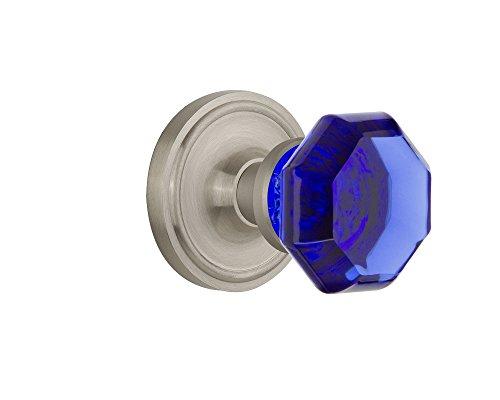 Nostalgic Warehouse 724154 Classic Rosette Privacy Waldorf Cobalt Door Knob in Satin Nickel, 2.75