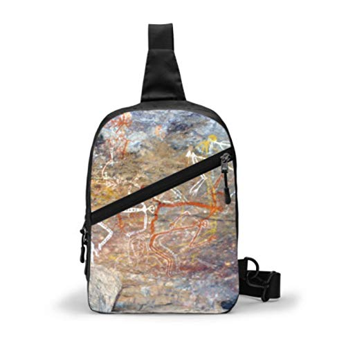 Womens Cross-body Bag Aboriginal Painting Rock Painting Australia Outback Crossbody Bag Backpack Male Shoulder Bag Womens Shoulder Bag With Adjustable Strap For Men Or Women Cycling Walking Hiking
