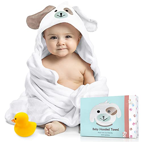 FOREVERPURE Baby Hooded Towel 100% Organic Bamboo Cotton, Super Absorbent, for Boys and Girls. Ultra Soft, X-Large, 35 x 35 inches. Perfect with Washcloth and Greeting Card