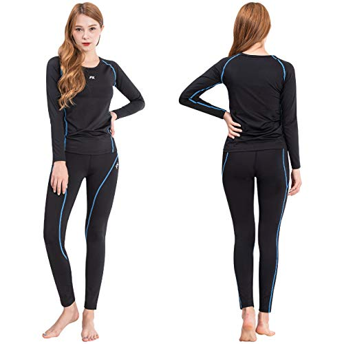 FITEXTREME MAXHEAT Womens Thermal Underwear Long Johns Set with Fleece Lined Black S
