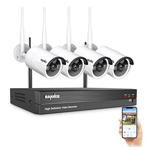 SANNCE WiFi Kit Videosorveglianza 1080P 8 Canali NVR con 4 IP Telecamere di Sicurezza Wireless 1080P CCTV Sistema di Sorveglianza da Esterno IP66 AI Rilevamento Umano, Accesso Remoto- Senza HDD