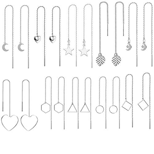 XHBTS Juego de 10 pares de pendientes de rosca para mujer, pendientes de cadena largos, diseño de corazón y estrella, luna, ligero, con cadena y borla