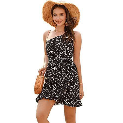 Hanks 'Shop. Riemen-Kleid Sexy Schulter-Mode-Druck-A-Linie Riemen-Kleid (Color : Black, Size : S)
