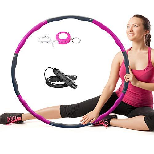 BICMTE Fitness Hoola Hoop 1.3kg zur Gewichtsreduktion-6-8 Segmente Abnehmbarer Hula Hoop für Fitness/Bauchformung (Mit Springseil & Maßband)