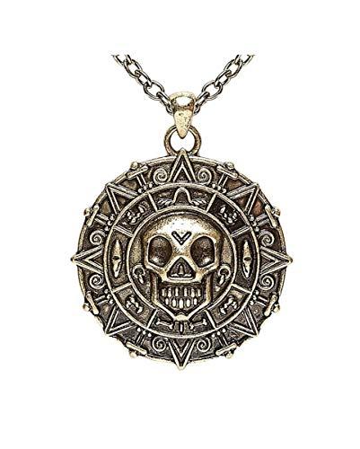 Horror-Shop Metall Piratenmünze als Amulett an Halskette für Karneval