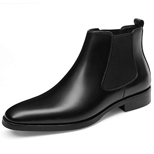 GIFENNSE Mens Chelsea Boots Leather Dress Boots for Men 11US Black