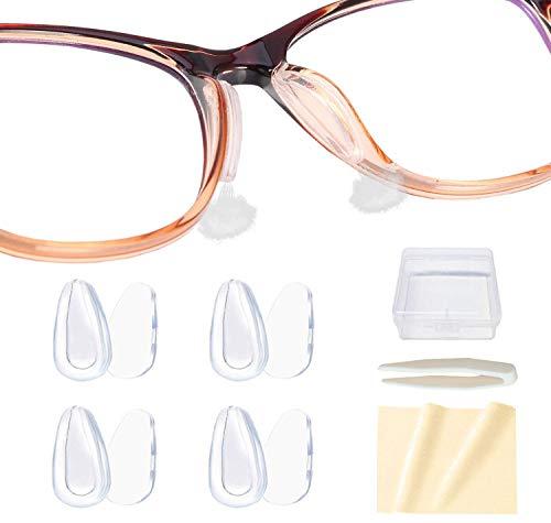 VSuRing メガネ鼻パッド シール 柔らかい エアシリコン 厚み3.5mm 両面テープ式 ずれ落ち防止 鼻あて 交換 ロック メガネ跡防止 眼鏡 鼻パッド 鼻盛りまめパッド ピンセット 収納ケース クロス付
