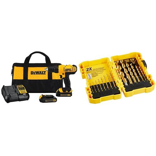 Dewalt DCD771C2 20V MAX Cordless Lithium-Ion 1/2 inch Compact Drill Driver Kit with Titanium Speed Tip Drill Bit Set