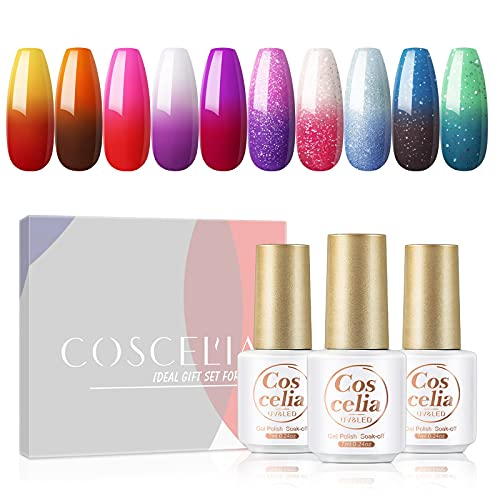 Color Changing Gel Nail Polish Kit Coscelia 10 Colors Temperature Changing Gel Summer Fall Color Collection Red Purple Pink Blue Glitter Series Gel Nail Salon Manicure Set