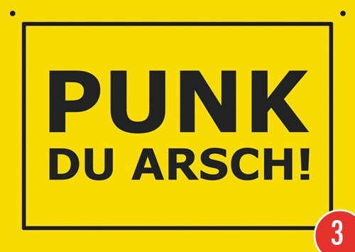3er-Pack: Postkarte Kunststoff +++ VERBOTENE SCHILDER von modern times +++ PUNK DU ARSCH! +++ ARTCONCEPT VERBOTENE SCHILDER PunkDuArsch