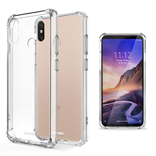 Moozy Funda Silicona Antigolpes para Xiaomi Mi MAX 3 - Transparente Crystal Clear TPU Case Cover Flexible