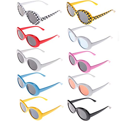 10 Colors Clout Oval Goggles Retro Round Lens Sunglasses Oval for Adults, Kids