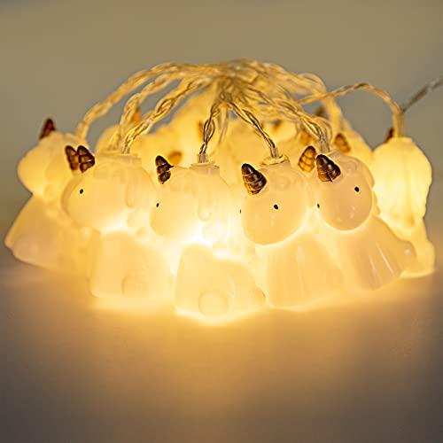 LED Unicorn String Lights with 5m 50 LEDs Lamp Simulation Unicorn Shape Battery Operated Lighting for Birthday Garden Yard Patio Party Christmas Decoration