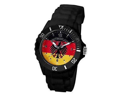 Alsino Deutschland Silikonuhr Uhr Fanuhr Fußball EM Armbanduhr UR-DE02